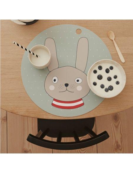 OYOY Podkładka pod talerz królik niebieska