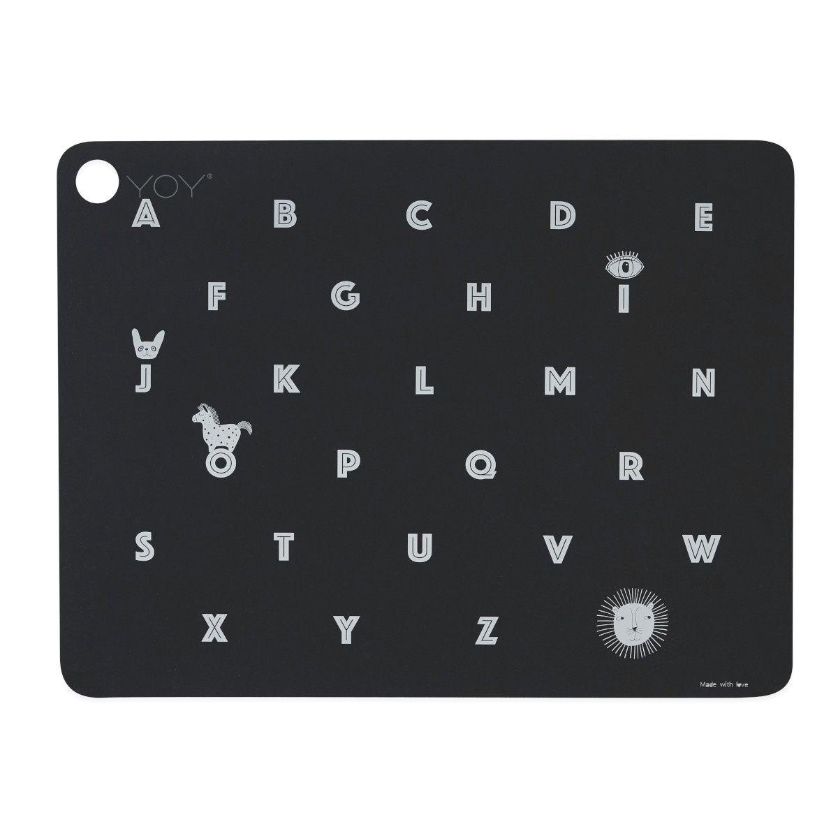 Podkładka pod talerz Alfabet czarna - OYOY