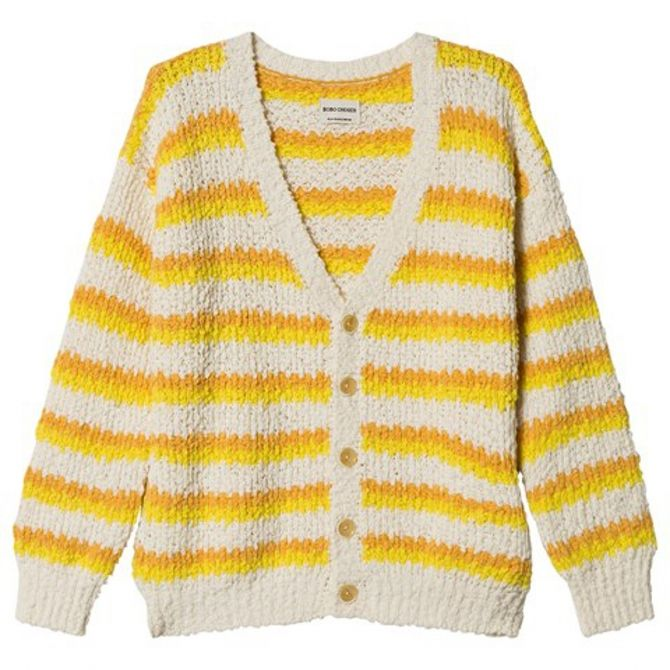 Stripped Cardigan white-yellow