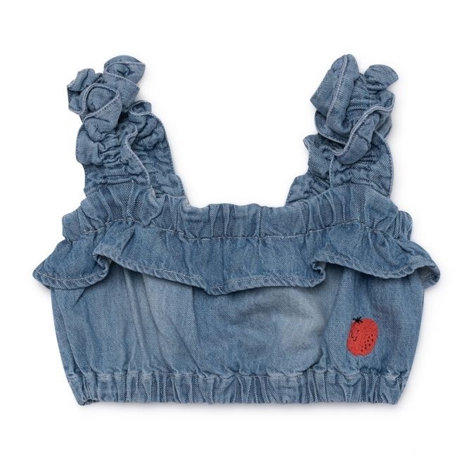 Bobo Choses Ruffles Top Denim blue