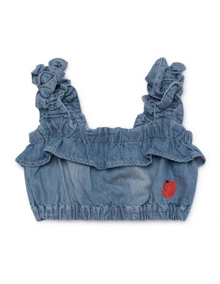 Top Ruffles Denim niebieski - Bobo Choses