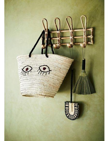 Madam Stoltz Bamboo Hanger 4 hooks beige
