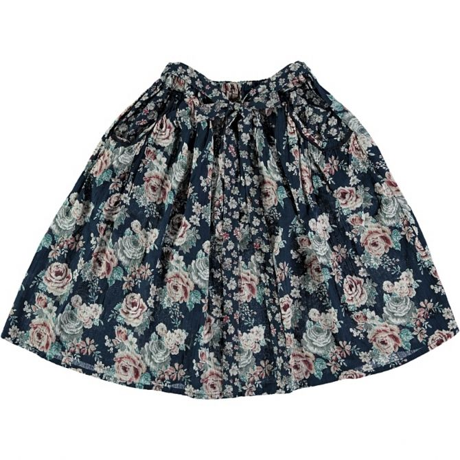 Tocoto Vintage Flowers Midi Skirt black