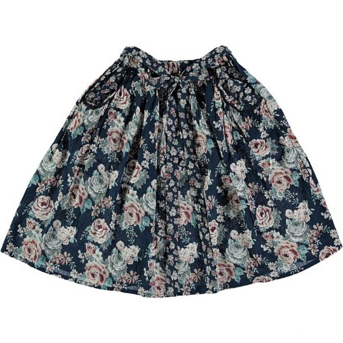 Flowers Midi Skirt black - Tocoto Vintage