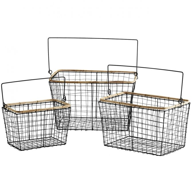 Set of Wire Baskets black - Madam Stoltz
