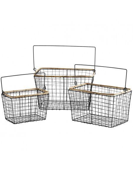 Zestaw Koszy z drutu Wire Baskets black czarny - Madam Stoltz