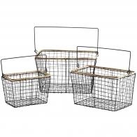 Zestaw Koszy z drutu Wire Baskets black czarny