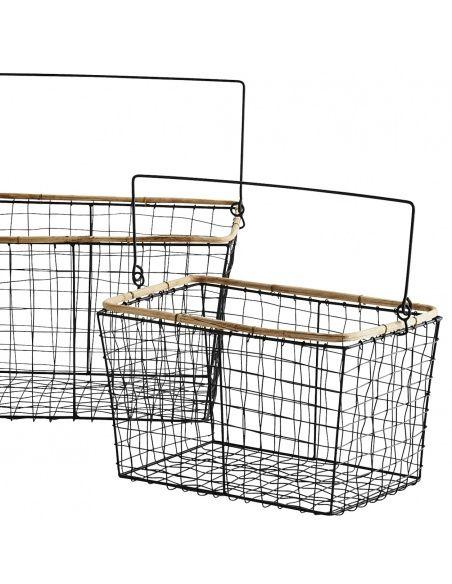 Madam Stoltz Set of Wire Baskets black