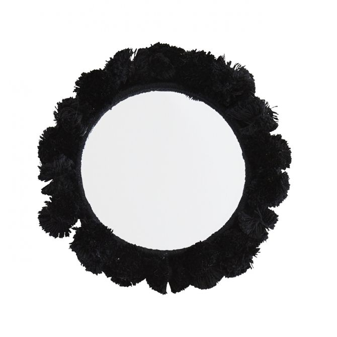 Pocket Mirror cotton black 9 cm - Madam Stoltz