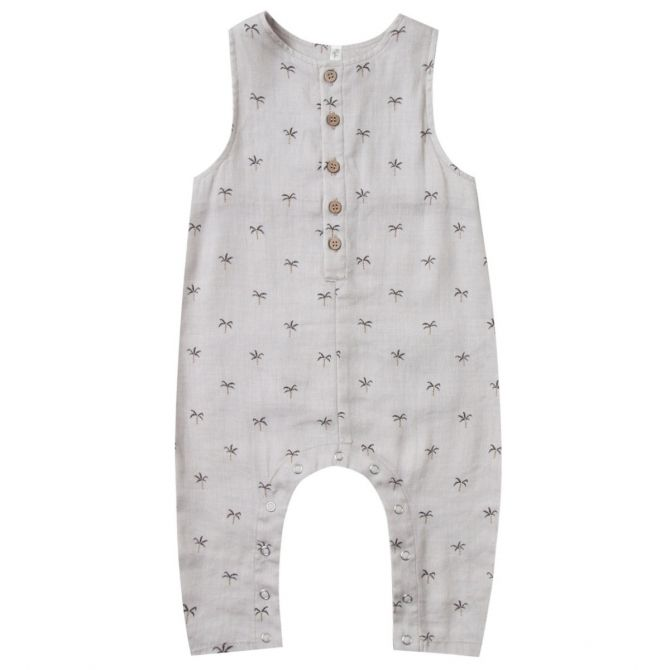 Rylee and Cru Palms Button Jumpsuit white