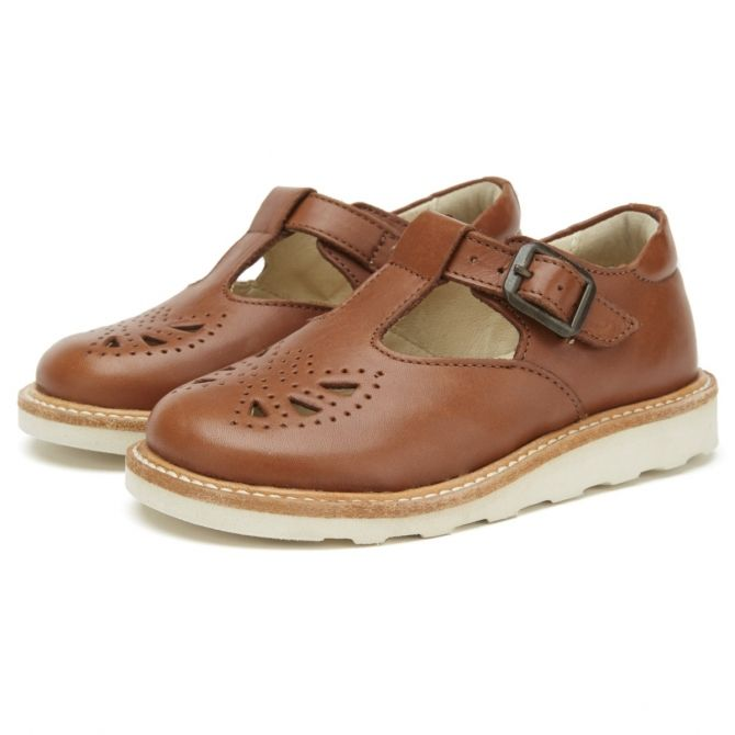 T-bar Shoe Rosie Leather Chestnut brown - Young Soles