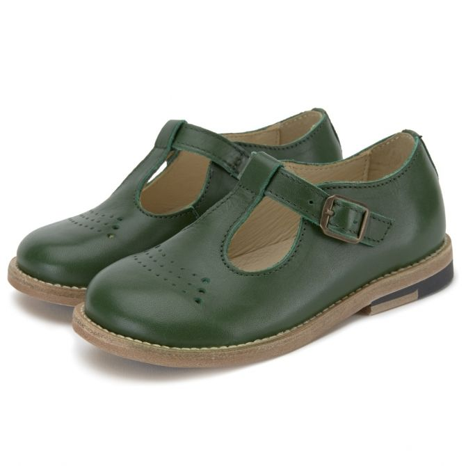 T-bar Shoe Dottie Leather green - Young Soles