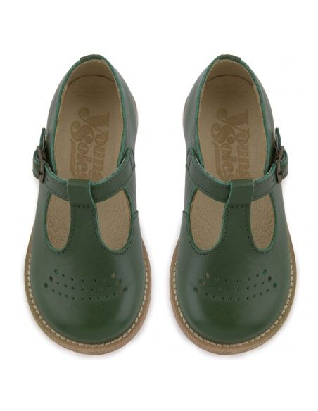 Young Soles T-bar Shoe Dottie Leather green