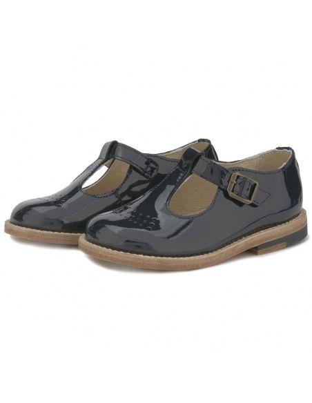 Young Soles T-bar Shoe Dottie Leather blue