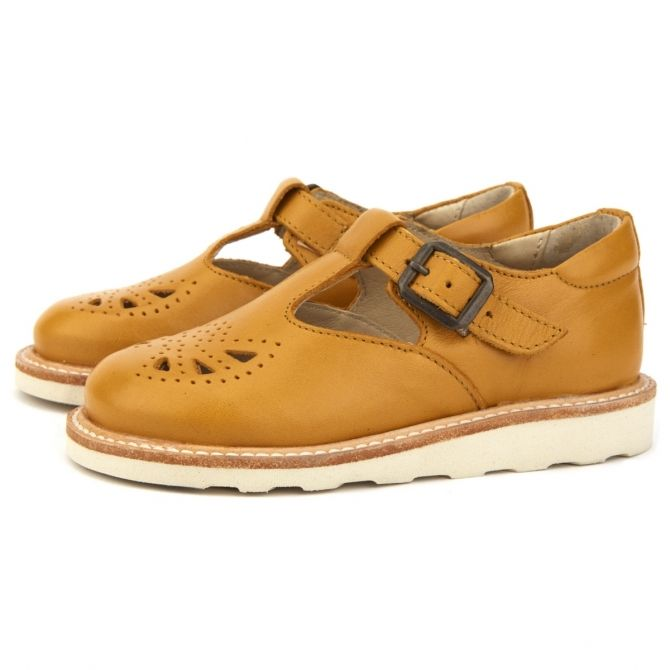 T-bar Shoe Rosie Leather yellow - Young Soles