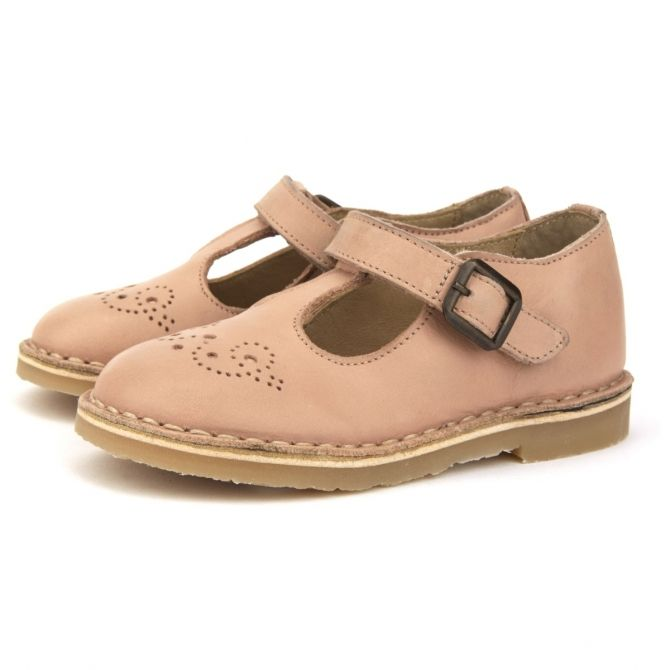 T-bar Shoe Penny Leather pink - Young Soles
