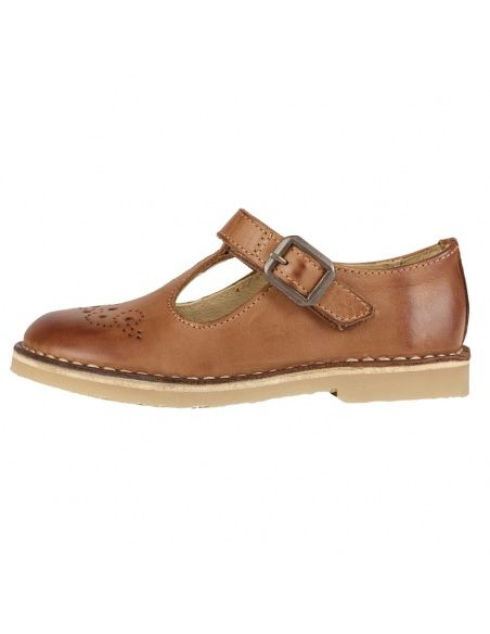 Young Soles T-bar Shoe Penny Burnished Leather brown