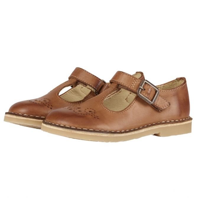 T-bar Shoe Penny Burnished Leather brown - Young Soles