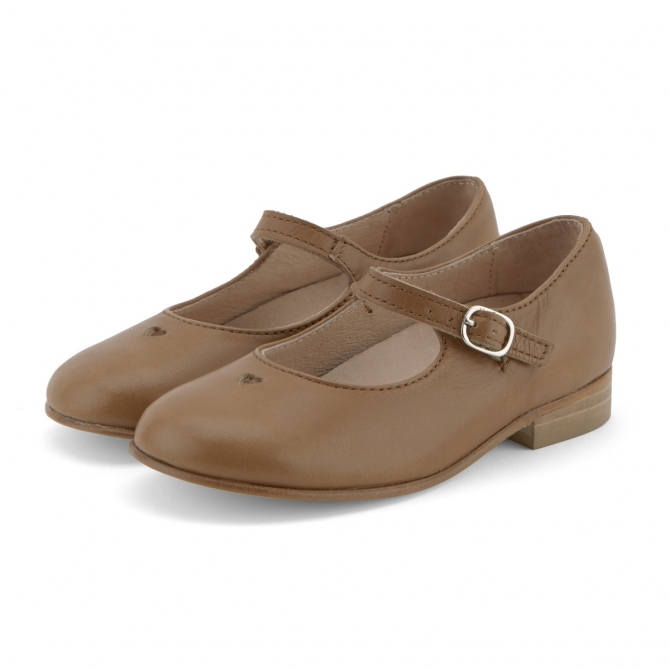 T-bar Shoe Maggie Burnished Leather brown - Young Soles