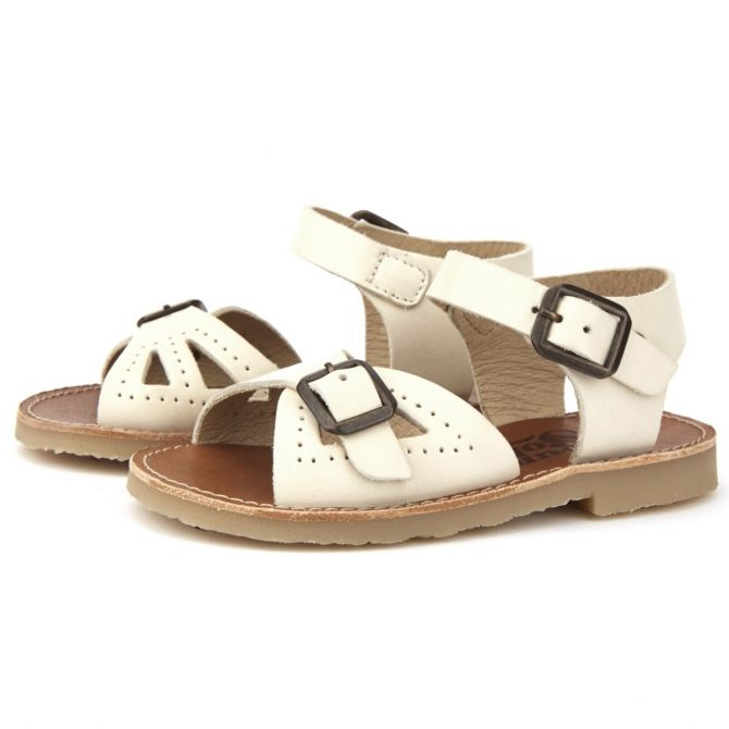 Sandals Pearl Leather Vanilla ecru - Young Soles