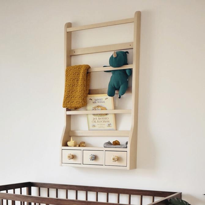 Półka drewniana z szufladami - WOODszczęścia