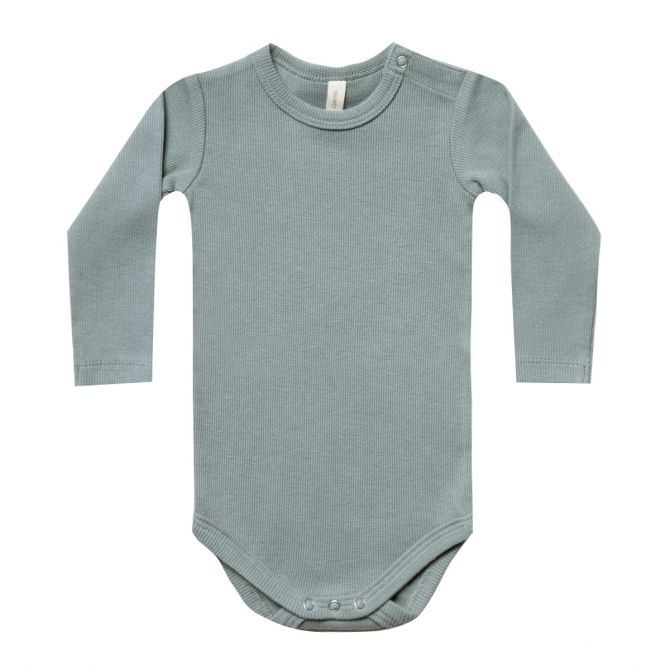 Ribbed LS Onesie Body blue - Quincy Mae