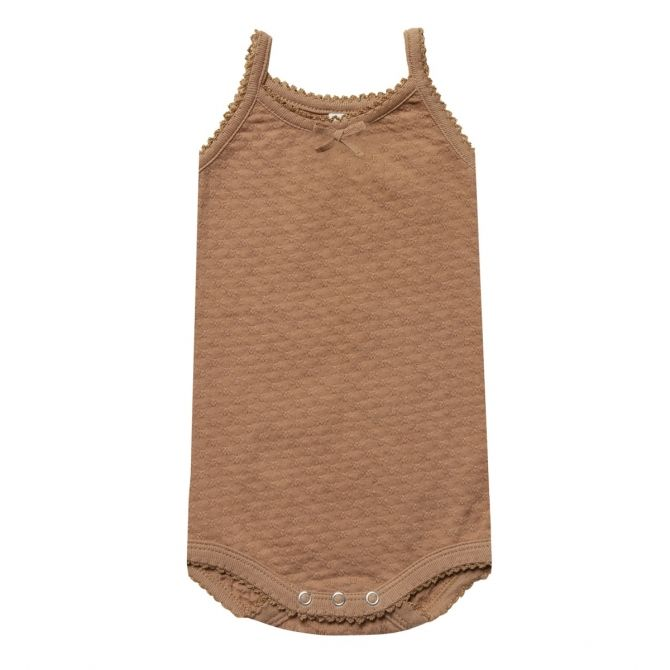Pointelle Tank Onesie Body brown - Quincy Mae
