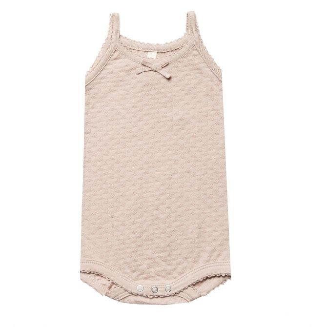 Pointelle Tank Onesie Body pink - Quincy Mae