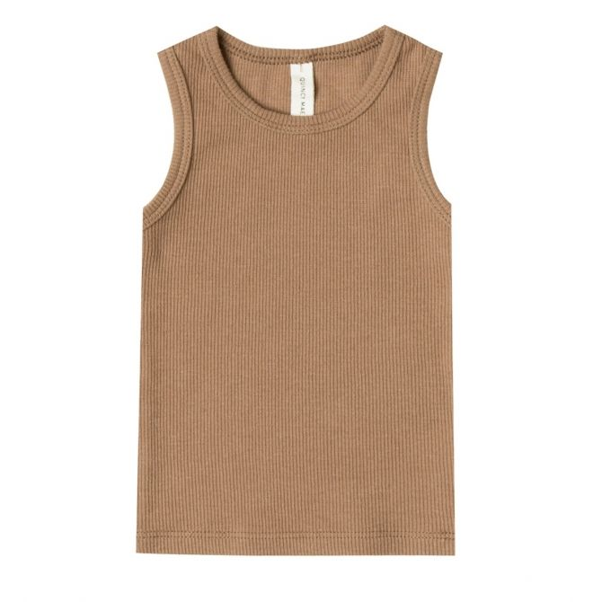 Ribbed Muscle Tank brown - Quincy Mae