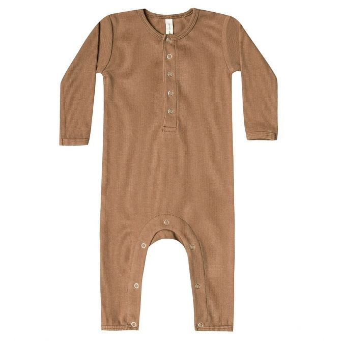 Romper Ribbed Baby brązowy - Quincy Mae