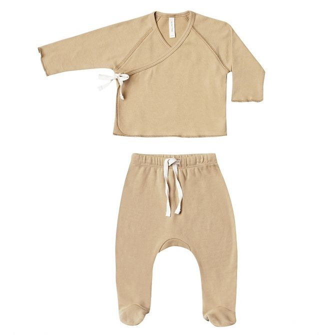 Komplet Kimono Top/Footed Pant zółty - Quincy Mae