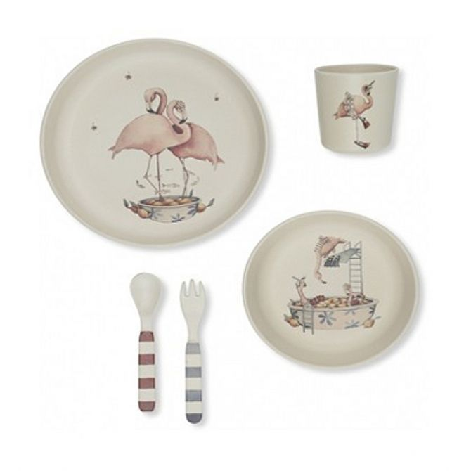 Konges Slojd Dinner set Flamingo