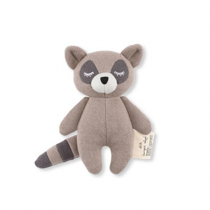 Konges Slojd Rattle Toy Mini Racoon gray