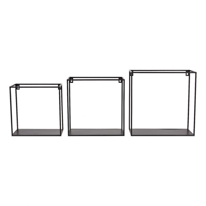 Kids Depot Set of wall shelf square black