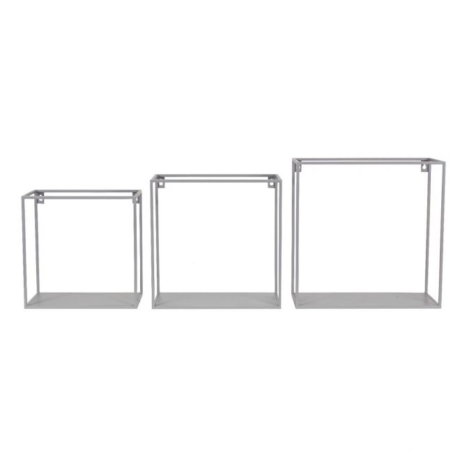 Kids Depot Set of wall shelf square gray