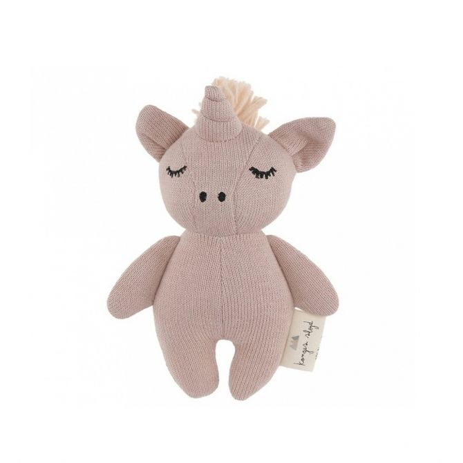 Konges Slojd Rattle Toy Mini Unicorn pink