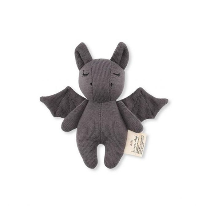 Konges Slojd Rattle Toy Mini Bat gray