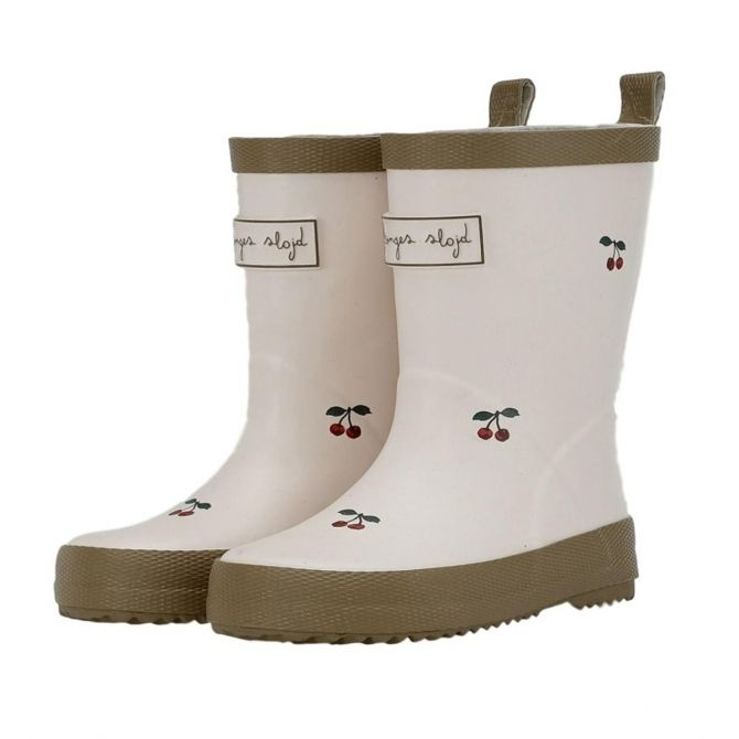 Laces Rain Boots Kid beige cherries - Konges Slojd