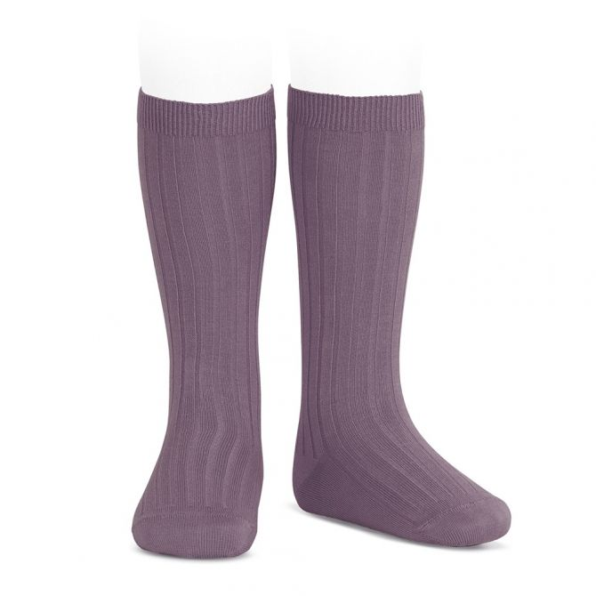 Wide Ribbed Cotton Knee High Socks amethyst - Condor