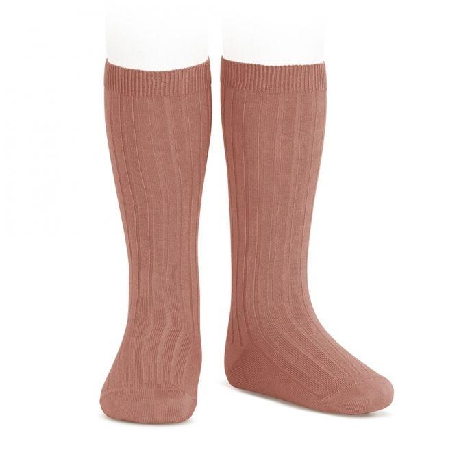 Wide Ribbed Cotton Knee High Socks malva - Condor