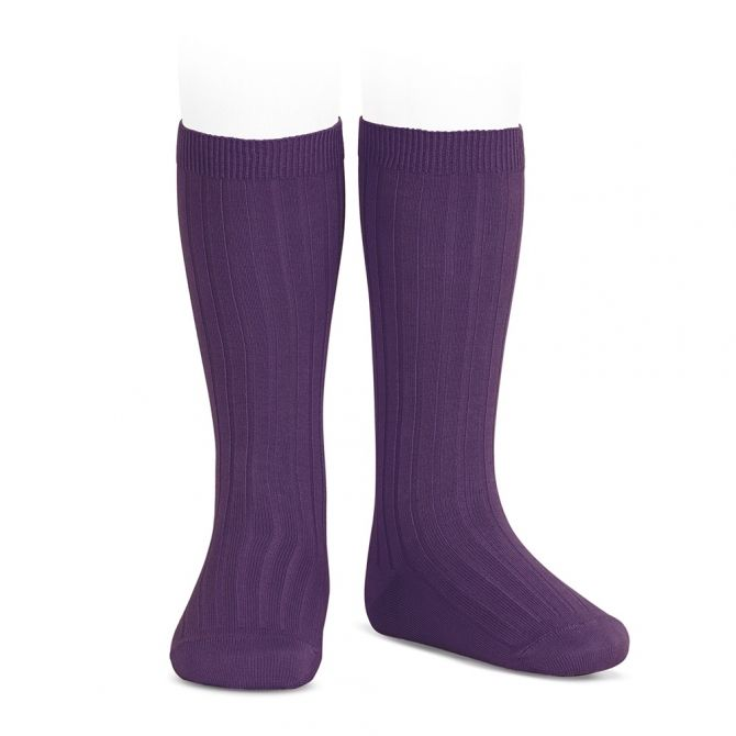 Wide Ribbed Cotton Knee High Socks aubergine - Condor