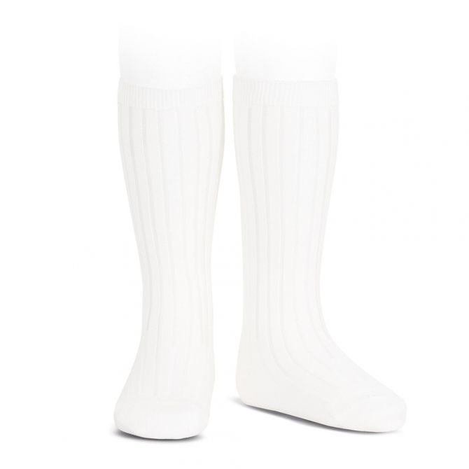 Wide Ribbed Cotton Knee High Socks white - Condor