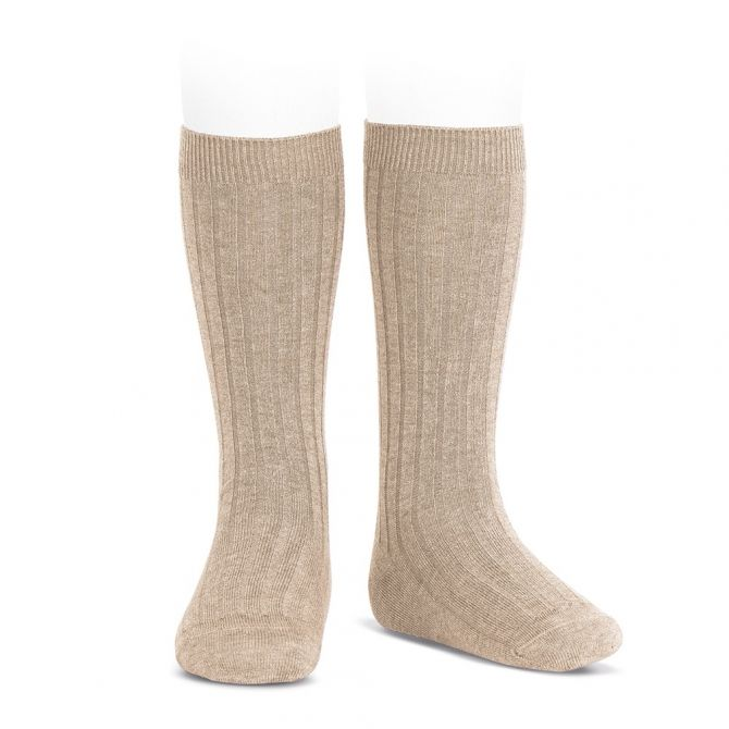 Wide Ribbed Cotton Knee High Socks nougat - Condor