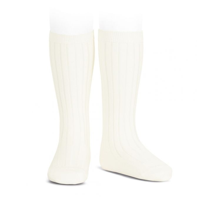 Wide Ribbed Cotton Knee High Socks beige - Condor
