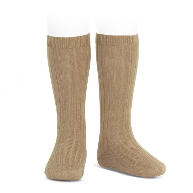 Wide Ribbed Cotton Knee High Socks camel - Condor