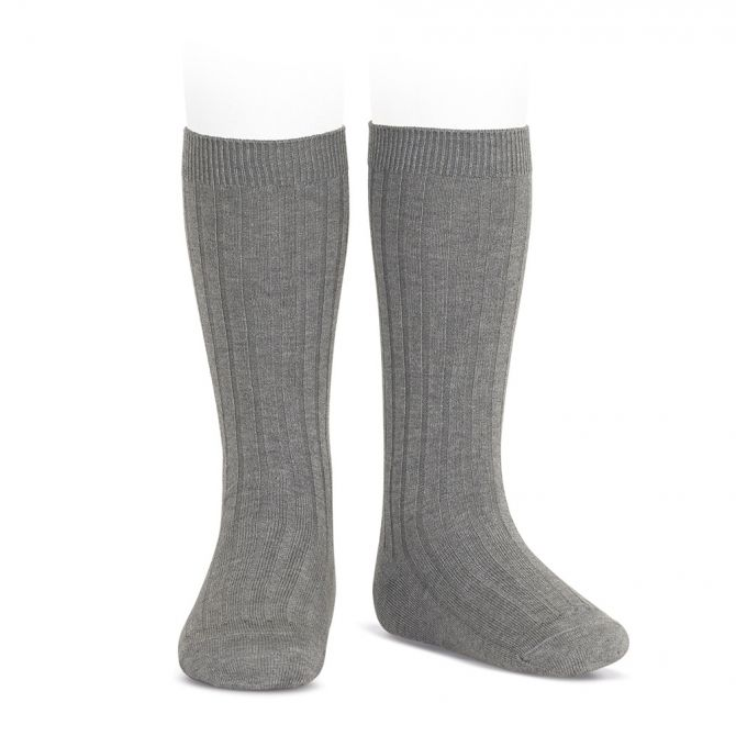 Wide Ribbed Cotton Knee High Socks light grey - Condor