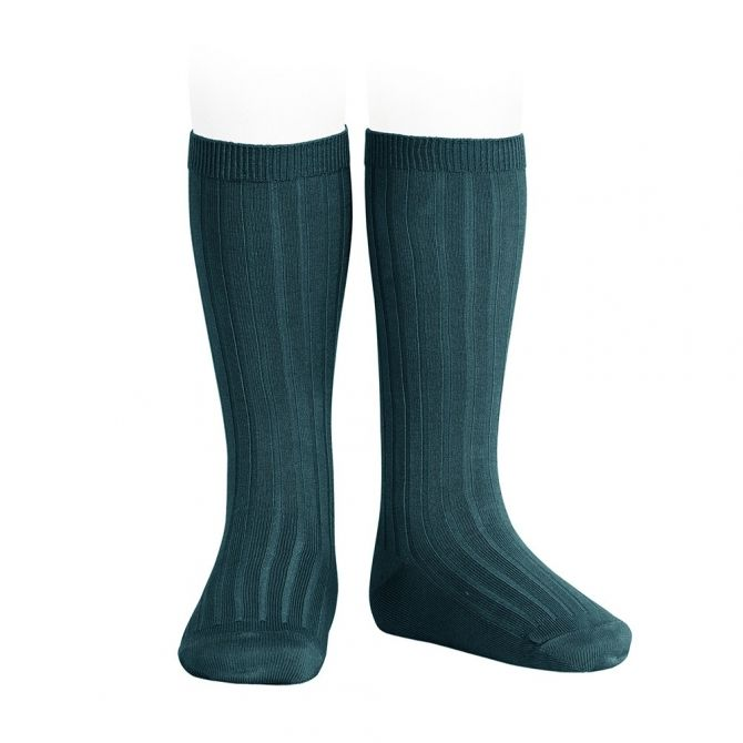 Wide Ribbed Cotton Knee High Socks oil - Condor
