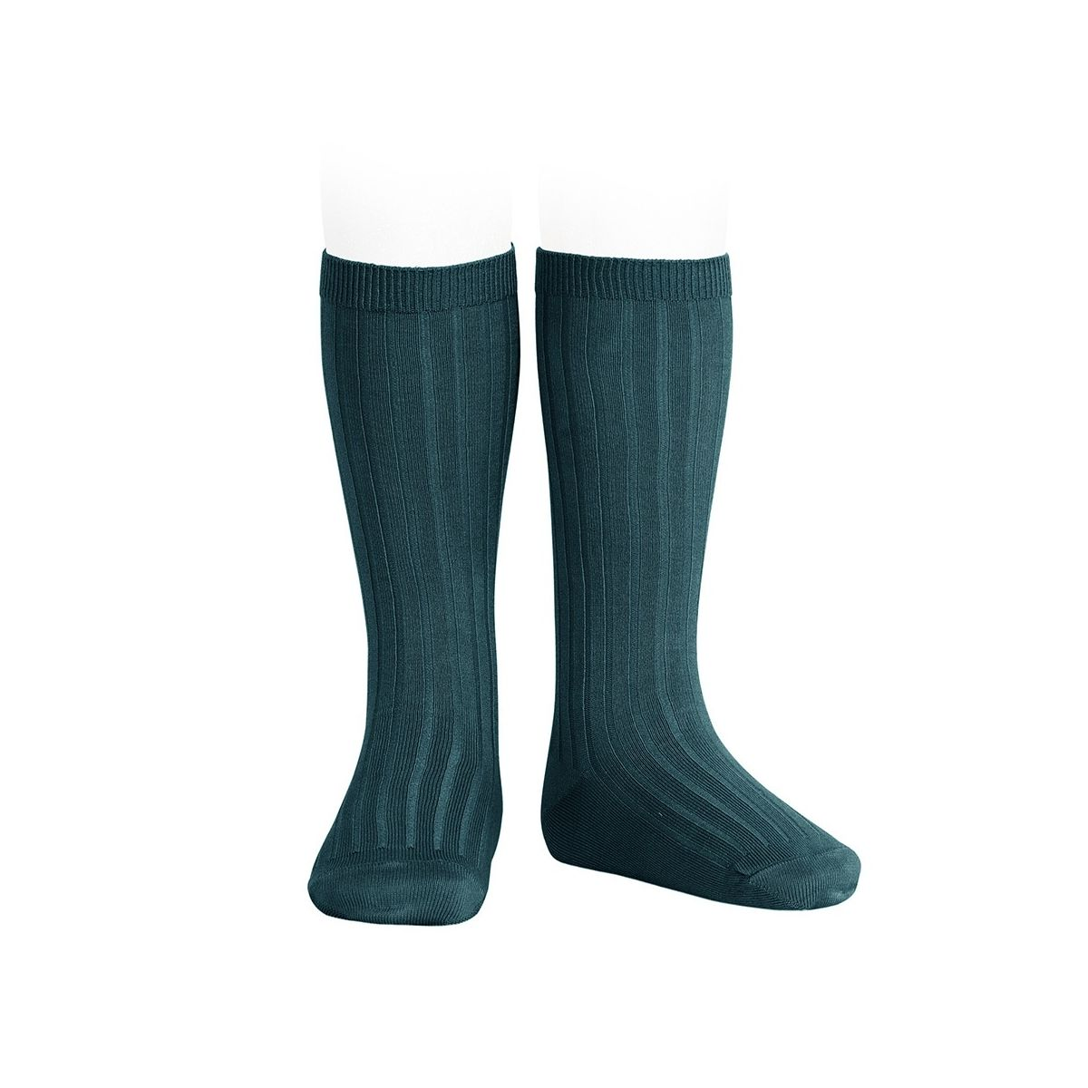 Condor Wide Ribbed Cotton Knee High Socks oil