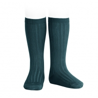 Wide Ribbed Cotton Knee High Socks oil