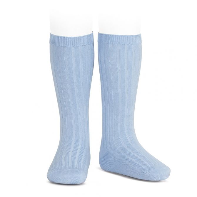 Wide Ribbed Cotton Knee High Socks light blue - Condor